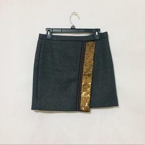J. Crew gold sequin grey wrap wool blend skirt